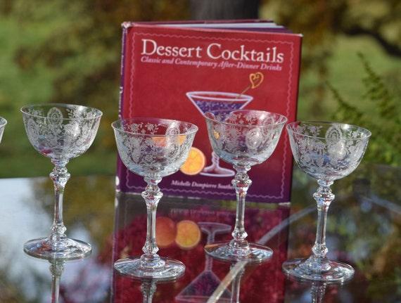 Vintage Etched Wine ~ Liqueur Glasses, Set of 4, Tiffin Franciscan, June Night, 1940's, Tiffin Franciscan 3.5 oz Port, Dessert Wine glasses