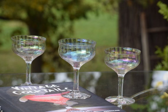 Vintage Iridescent Cocktail Glasses, Set of 4, Vintage Iridescent Champagne Coupes, Unique Shaped Cocktail Glasses, Wedding Gifts