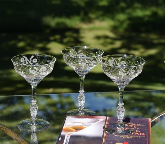 Vintage Etched Crystal Tall Cocktail Glasses Set of 3,  Rock Sharpe, Interlaken, c. 1939, Antique Crystal Champagne Glasses ~ Weddings