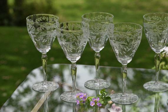 Vintage Etched Wine Glasses, Set of 6,  Floral Etched Wine glasses ~ Cocktail Glasses, Elegant Vintage Wedding Glasses