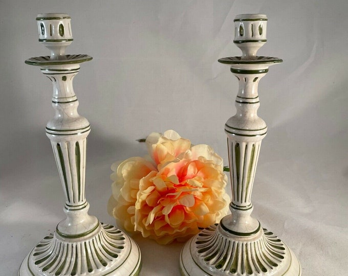 2 Vintage Italian Ceramic Candlesticks, Made by Erma, Italy, 1950's, Dining room Table Cream Green Ceramic Candlesticks, Home Decor Candle