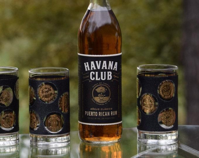6 Vintage Black and Gold Whiskey Highballs Glasses Set of 6, Libbey Barware, MCM Cocktail Glasses, Whiskey, Bourbon, Scotch glasses,