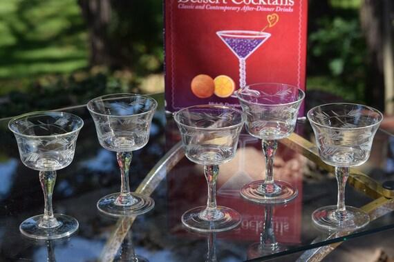 Vintage Etched Wine Cordial Glasses, Set of 5,  3 oz After Dinner Drink Glasses, Vintage Port Wine Liquor Cordial Glasses Dessert Wine Glass