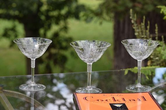 Vintage Etched Cocktail - Martini Glasses, Set of 4, Cambridge, 1950's Vintage Tall Etched Cocktail ~ Champagne glasses