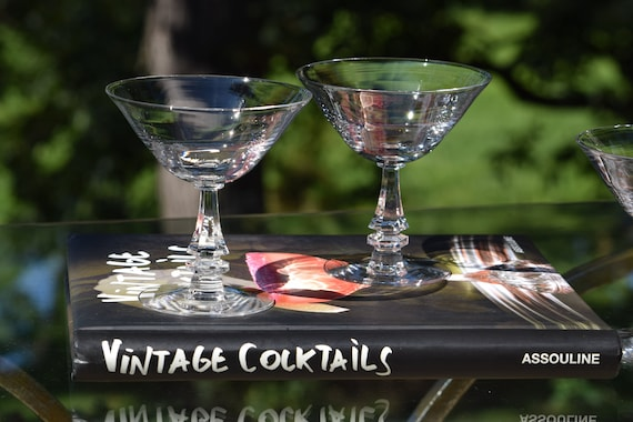 Vintage Martini ~ Cocktail Glasses, Set of 4, Clear 6 oz Martini Glasses, Mixologist Craft Cocktail Glasses, Manhattan Glasses, Gin Glasses