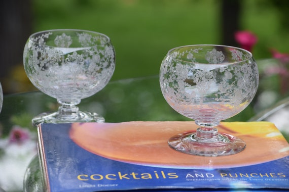 Vintage Etched Cocktail Glasses, Set of 2, Cambridge, Rose Point, Cocktail Icer, circa 1934, Summer Cocktail Glasses, Brandy Snifters