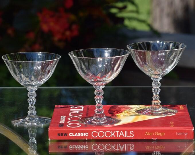 4 Vintage CRYSTAL Cocktail Martini glasses, Fostoria - Niagara - circa 1940-1965, Craft Cocktail Glass 5 oz Crystal Champagne Glasses