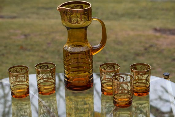 Vintage Cocktail Pitcher with Lowball glasses, 1950's Amber Glass- Polished Pontil,  Mid Century Amber Blown Glass Cocktail Pitcher