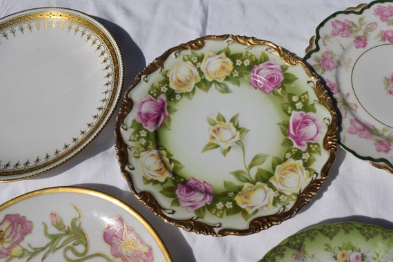 Vintage Haviland Limoges ~ R & C ~ Theodore Haviland Porcelain Mis-Matched Plates, Set of 7, Antique Dinner Plates ~ Mixed Set of 7 Plates