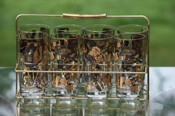 Vintage LAS VEGAS Black & Gold Cocktail Highball Glasses Set of 8 with gold Caddy, Vintage Whiskey Bourbon Scotch Glasses,
