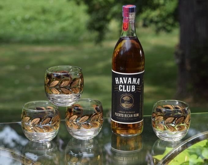 4 Vintage Black & Gold Roly Poly Cocktail Glasses, 10 oz, Whiskey, Bourbon Scotch Glasses, Mid Century Modern Barware - Rocks Glasses