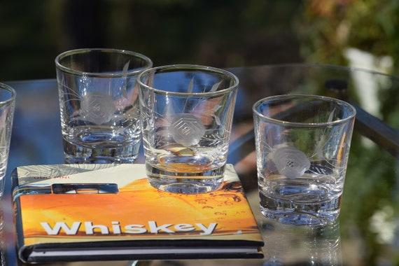 Vintage Etched Lowball - Cocktail Glasses, Set of 4, Vintage Etched Rocks Glasses, 1950's, Whiskey, Bourbon, Scotch Glasses