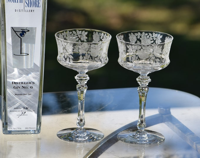 5 Vintage Etched Crystal Cocktail Glasses, Tiffin Franciscan, LaRosa, Craft Cocktails, Tall Etched Champagne ~ Martini Glasses