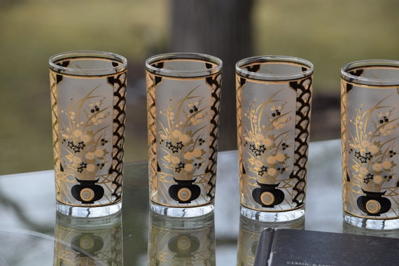 Vintage CULVER Black & 22kt Gold Cocktail Liquor Highball Glasses, Set of 6, Mad Men Barware, Whiskey Bourbon Glasses MCM Barware