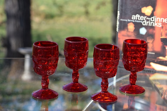 Vintage Pressed Glass Red Wine Glasses, Set of 4, Vikings, Georgian Ruby, c. 1950's, After Dinner Wine glasses, 5 oz Liqueur glasses