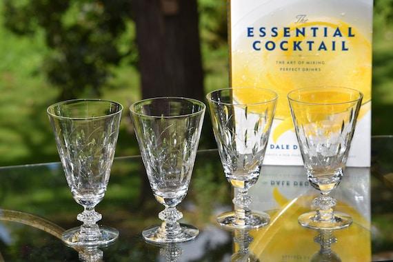 Vintage Crystal Wine Glasses, Set of 4, Duncan Miller, Willow, circa 1950's Vintage Crystal Water Glasses, Vintage Crystal Cocktail Glasses