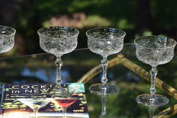Vintage Etched Cocktail Coupes, Set of 5, Cambridge 1940's, Vintage Etched Champagne Coupes, Wedding Champagne Toasting Glasses ~ Coupes