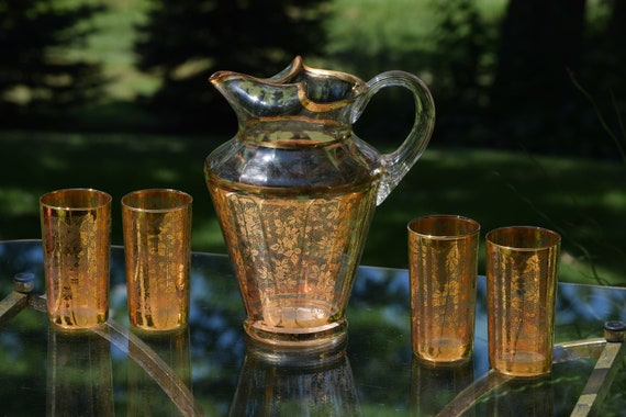 Antique Victorian Gold Floral Lace Glass Pitcher with 4 matching Glasses, Batch Cocktail Pitcher, Antique Satin Glass Gold Accent Pitcher