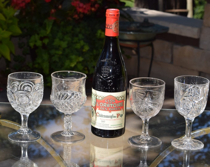 4 Antique Pressed Glass Wine Glasses, Set of 4 Mis-Matched EPAG Antique Wine Glasses, Elegant Pressed Glass Wine Glasses