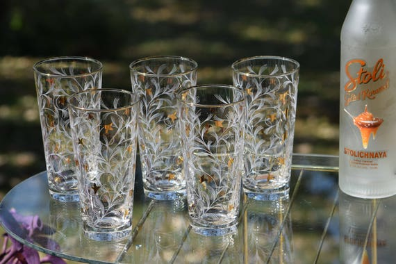 Vintage Cocktail Highball Glasses with Gold and White Designs,  Set of 7,  Vintage Tall Whiskey Glasses, Mixologist Craft Cocktail Glasses