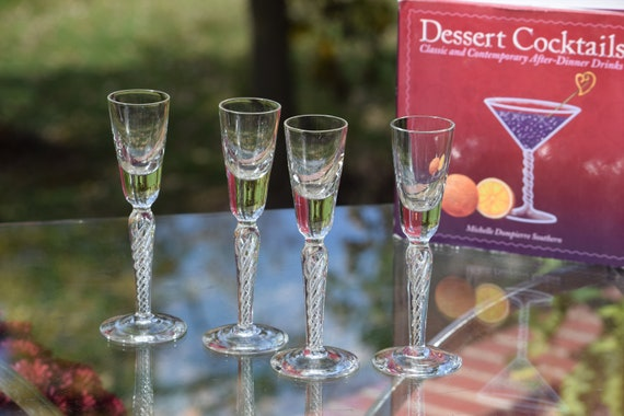 Vintage  Air Twist stem Liquor - Wine Cordials glasses, Set of 4, Port ~ Dessert ~ Liquor Cordials ~~  1.5 oz After Dinner Drink Glasses