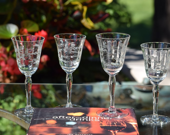 4 Vintage Etched Wine Liqueur Cordials ~ After Dinner Drink Glasses,   3 oz Port ~ Dessert Wine, Sherry glasses