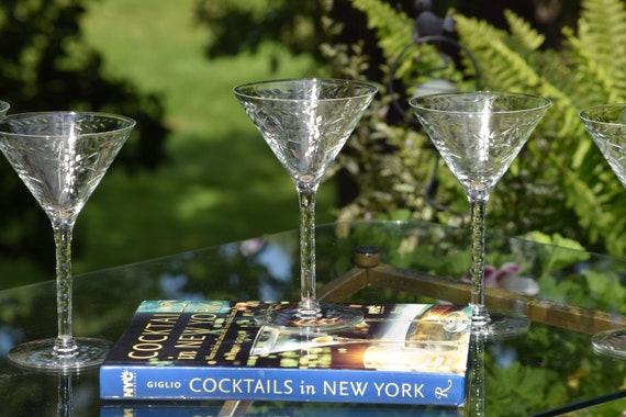 Vintage Etched Cocktail Glasses, Set of 6, Cocktail Party Glasses, Vintage Etched Martini Glasses, Mixologist Craft Cocktail Glasses