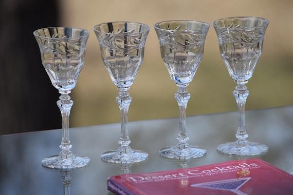 Vintage Etched Wine Glasses, Set of 4, Tiffin Franciscan, Allegro, circa 1950's, 3 oz Wine glasses, After Dinner Port Wine Glass