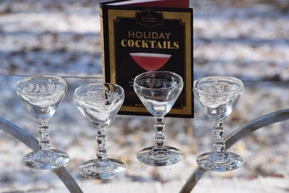 Vintage Etched Wine Cordials, Set of 4,  Vintage Etched Liquor Cordials ~ 3 oz, After Dinner Drinks Glasses ~ Port Dessert Wine Glasses
