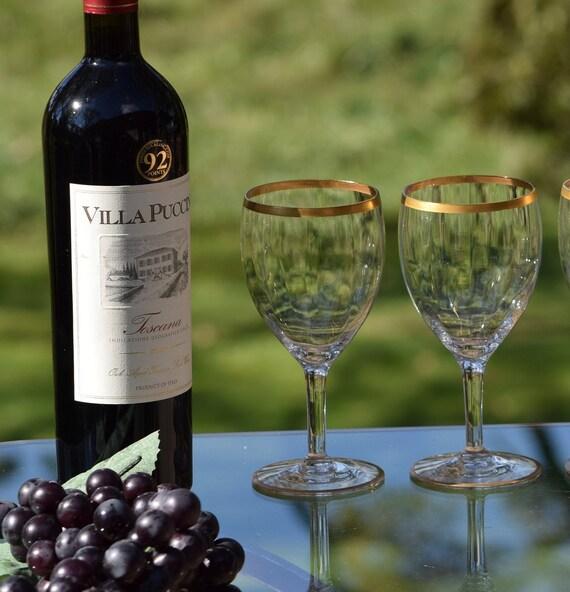 62fe742149e Vintage GOLD RIMMED Optic Glass Wine Glasses Set of 4