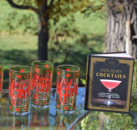 Vintage Culver Christmas Highball Cocktail glasses, Set of 4,  Bourbon Whiskey Scotch Highballs, Holiday Cocktail Party Glasses