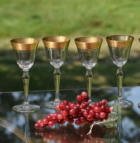 Vintage Gold Rimmed Encrusted Cordial Port Wine Glasses, Set of 4, Glastonbury Lotus, Rambler Rose, Vintage Gold Rimmed Cordial Liquor Glass