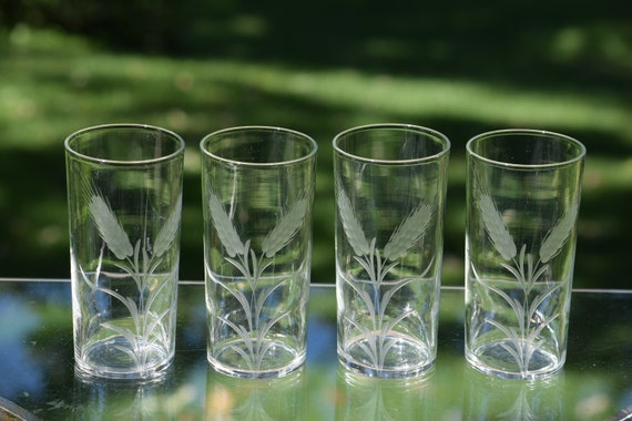 Vintage LIBBEY Etched Highball Glasses, Set of 4, Mid Century Cocktail Whiskey Bourbon Highball Glasses, Mixologist Craft Cocktail Glasses