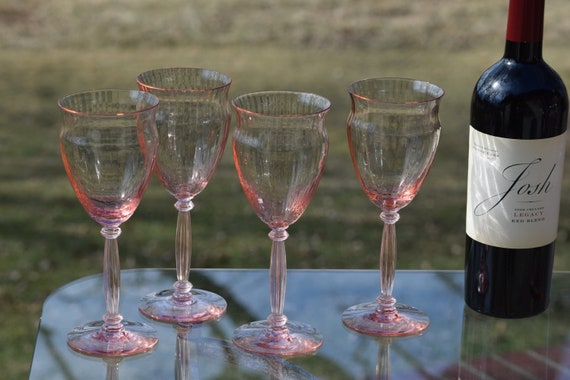 Vintage PINK Optic Glass Wine Glasses, Set of 7, Vintage Pink Depression Wine Glasses, Elegant Pink Wine Glasses
