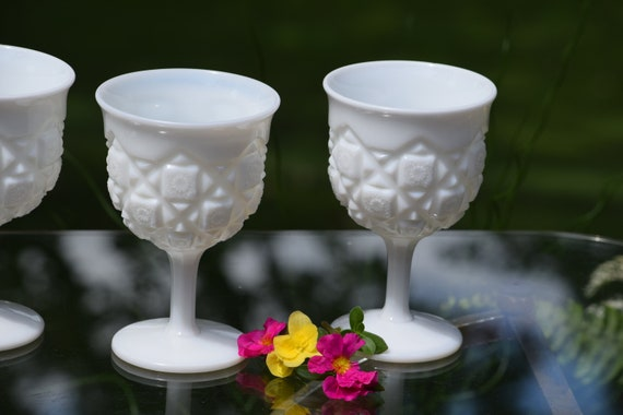 Vintage White Milk Glass Wine Glasses, Westmoreland Milk Glass, circa 1940's, Set of 4, Vintage Cocktail Glasses ~ Summertime Table Decor