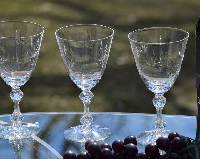 4 Vintage Etched CRYSTAL Wine Glasses ~ Bubble Stem, Tiffin Franciscan, Sunrise, circa 1960's, Vintage Etched Crystal Water Goblets