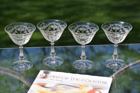4 Vintage Crystal Etched Cocktail Glasses, Fostoria, 1940's, Vintage Champagne Glasses,  Craft Cocktails--Home Bartender Mixologist Glasses