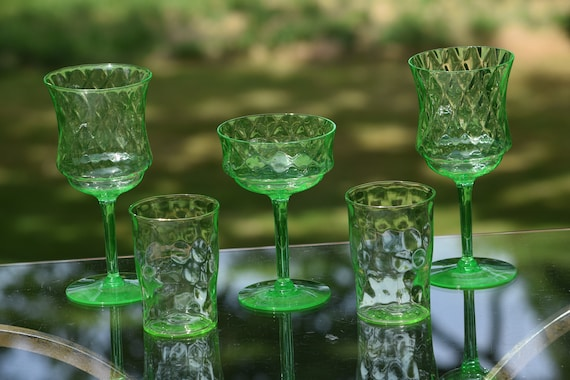 Vintage Green Diamond Optic VASELINE URANIUM Glasses, Set of 5 Glasses - 2 Wine, 1 Coupe, 2 Tumblers, Vintage 1950's Vaseline Glasses