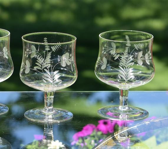 Vintage Etched Glass Brandy Cognac Snifter Glasses, Set of 4, Retro Brandy Snifters, Brandy Cognac Liquor Glasses