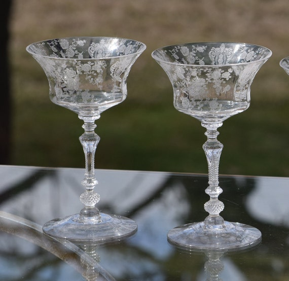 Vintage Etched CRYSTAL Cocktail Martini glasses, Set of 5, Cambridge, Rose Point, circa 1935, Mixologist Craft Cocktail Glasses