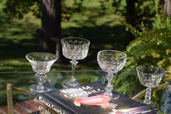 Vintage Crystal Cut Cocktail Martini Glasses, Set of 4 Mis-Matched Cocktail glasses, Mixologist Craft Cocktail Glasses, Manhattan Glasses