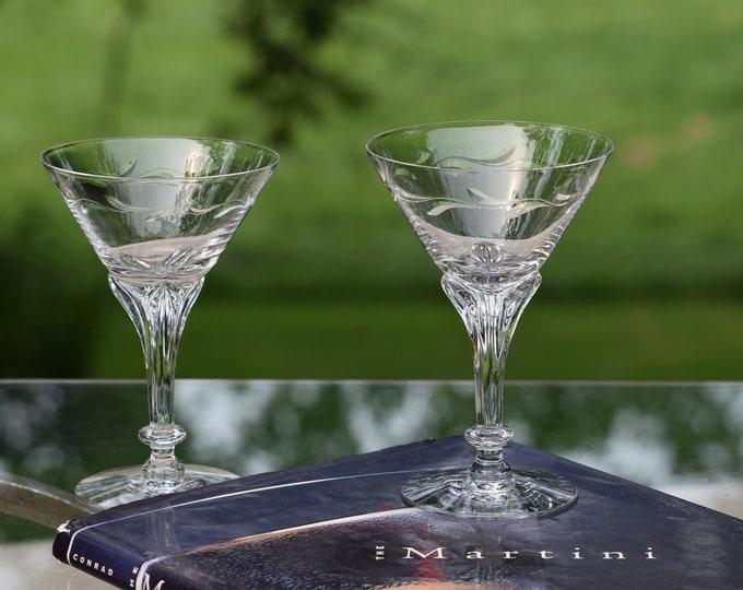 2 Vintage Etched CRYSTAL Cocktail Glasses, Tiffin Franciscan, 1950's, Craft Cocktail Glasses, Tall Etched Martini Glass ~ Champagne Glasses