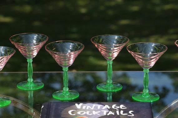 Vintage Festoon Optic Pink Green Stem Cocktail Glasses, Set of 6,  Tiffin Franciscan, Pink Festoon Optic, circa 1940's, 4 oz Liquor Glasses