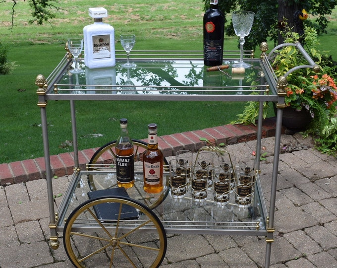 Vintage Italian Steel and Brass Bar Cart,  1940's, Maison Jansen Style Serving Trolley Cart, Hollywood Regency, Mid Century Bar Cart