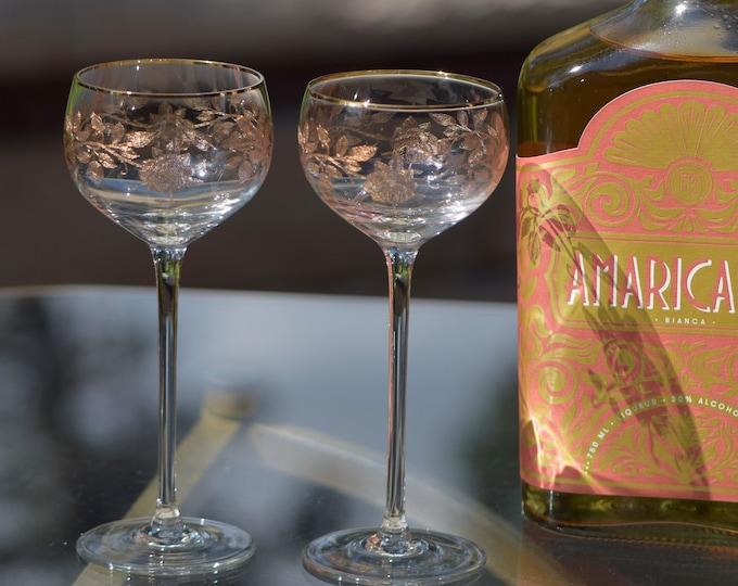 4 Vintage Rose Gold Rim Encrusted Wine Cordials, American Cut, 1976,  3.5 oz After Dinner Drinks ~ Ports ~ Dessert Wines ~ Aperitif Glasses