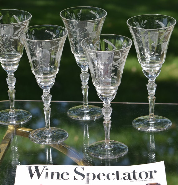 Vintage Floral Etched Optic Wine Glasses, Set of 6,  Rock Sharpe, circa 1940's,  Antique Etched Wine Glasses, Wedding Toasting Glasses