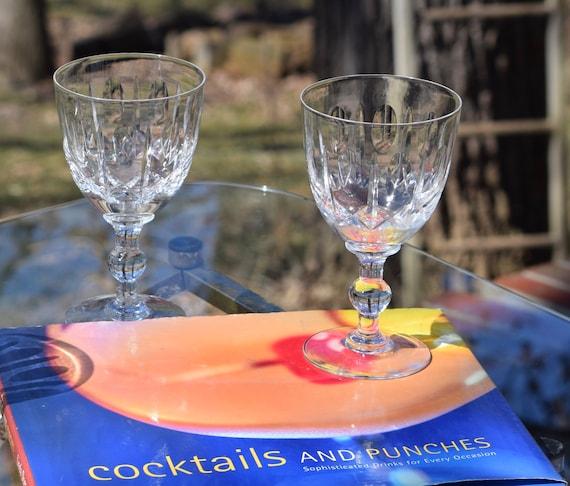 Vintage Etched Crystal Wine Glasses, Set of 4, Vintage Wedding Glasses, 1970's, Vintage Water Goblets, Vintage Etched Cocktail Glasses