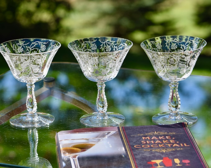 4 Vintage Etched Crystal Cocktail - Martini Glasses, Fostoria, Heather, c. 1950's,  Acid Etched Vintage Champagne Glasses