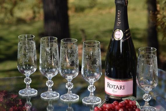 Vintage Etched Crystal Champagne Flutes ~ Cocktail Glasses, Set of 5, Vintage Champagne Toasting glasses, Champagne Cocktail Glasses