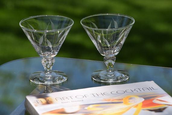 Vintage Etched Cocktail Glasses, Set of 4, Mixologist Craft Cocktail Glasses, Summer Cocktail ~ Mocktail Glasses,  Cocktail Party Glasses